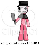 Pink Plague Doctor Man Holding Meat Cleaver