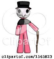 Pink Plague Doctor Man Standing With Hiking Stick
