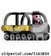 Pink Plague Doctor Man Driving Amphibious Tracked Vehicle Side Angle View