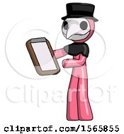 Pink Plague Doctor Man Reviewing Stuff On Clipboard