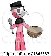 Pink Plague Doctor Man With Empty Bowl And Spoon Ready To Make Something