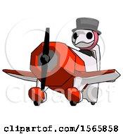 Pink Plague Doctor Man Flying In Geebee Stunt Plane Viewed From Below