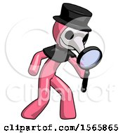 Pink Plague Doctor Man Inspecting With Large Magnifying Glass Right