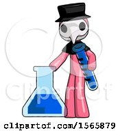 Pink Plague Doctor Man Holding Test Tube Beside Beaker Or Flask