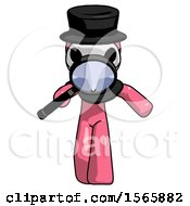 Pink Plague Doctor Man Looking Down Through Magnifying Glass