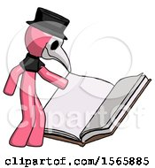 May 23rd, 2018: Pink Plague Doctor Man Reading Big Book While Standing Beside It by Leo Blanchette