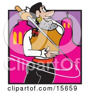 Male Musketeer Swinging A Sword Behind His Back Clipart Illustration