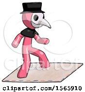 Pink Plague Doctor Man On Postage Envelope Surfing