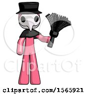 Pink Plague Doctor Man Holding Feather Duster Facing Forward