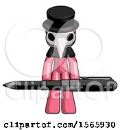 Pink Plague Doctor Man Weightlifting A Giant Pen