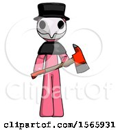 Pink Plague Doctor Man Holding Red Fire Fighters Ax