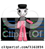 Pink Plague Doctor Man With Server Racks In Front Of Two Networked Systems