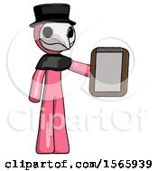 Pink Plague Doctor Man Showing Clipboard To Viewer