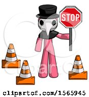 Pink Plague Doctor Man Holding Stop Sign By Traffic Cones Under Construction Concept