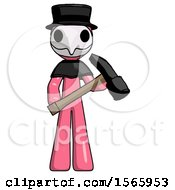 Pink Plague Doctor Man Holding Hammer Ready To Work