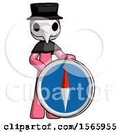 Pink Plague Doctor Man Standing Beside Large Compass