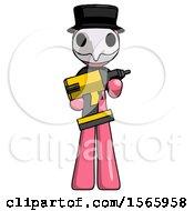 Pink Plague Doctor Man Holding Large Drill