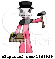 Pink Plague Doctor Man Holding Tools And Toolchest Ready To Work