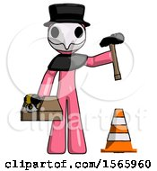 Pink Plague Doctor Man Under Construction Concept Traffic Cone And Tools