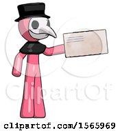 Pink Plague Doctor Man Holding Large Envelope