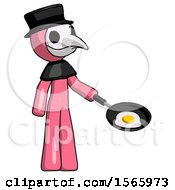 Pink Plague Doctor Man Frying Egg In Pan Or Wok Facing Right