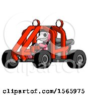 Pink Plague Doctor Man Riding Sports Buggy Side Angle View