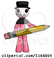 Pink Plague Doctor Man Writer Or Blogger Holding Large Pencil