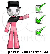 Pink Plague Doctor Man Standing By List Of Checkmarks