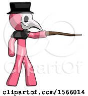 Pink Plague Doctor Man Pointing With Hiking Stick