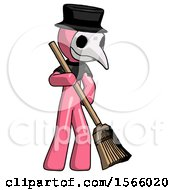 Pink Plague Doctor Man Sweeping Area With Broom