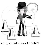 Ink Plague Doctor Man Holding Stop Sign By Traffic Cones Under Construction Concept