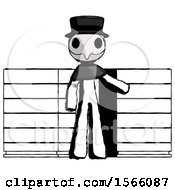 Ink Plague Doctor Man With Server Racks In Front Of Two Networked Systems