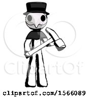 Ink Plague Doctor Man Holding Hammer Ready To Work