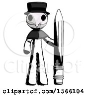 Ink Plague Doctor Man With Large Pencil Standing Ready To Write