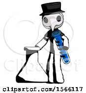 May 23rd, 2018: Ink Plague Doctor Man Holding Test Tube Beside Beaker Or Flask by Leo Blanchette