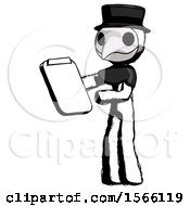 Ink Plague Doctor Man Reviewing Stuff On Clipboard