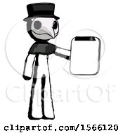 Ink Plague Doctor Man Showing Clipboard To Viewer