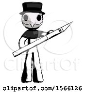 Ink Plague Doctor Man Holding Large Scalpel