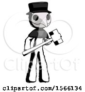 Ink Plague Doctor Man With Sledgehammer Standing Ready To Work Or Defend