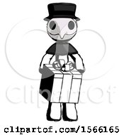 Ink Plague Doctor Man Gifting Present With Large Bow Front View