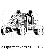 Ink Plague Doctor Man Riding Sports Buggy Side Angle View