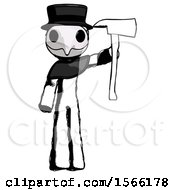 Ink Plague Doctor Man Holding Up Red Firefighters Ax