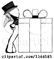 Ink Plague Doctor Man Gift Concept Leaning Against Large Present