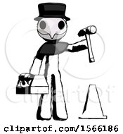 Ink Plague Doctor Man Under Construction Concept Traffic Cone And Tools