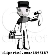 Ink Plague Doctor Man Holding Tools And Toolchest Ready To Work