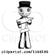 Ink Plague Doctor Man Holding Large Drill