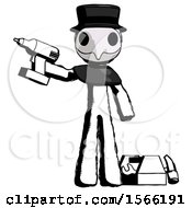 Ink Plague Doctor Man Holding Drill Ready To Work Toolchest And Tools To Right