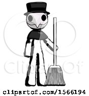 May 23rd, 2018: Ink Plague Doctor Man Standing With Broom Cleaning Services by Leo Blanchette
