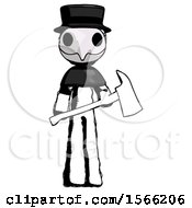 Ink Plague Doctor Man Holding Red Fire Fighters Ax