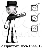 Ink Plague Doctor Man Standing By List Of Checkmarks